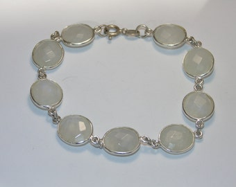 """BR891 Artisan Handmade Sterling Silver Large Oval Faceted Moonstone Stone Bar Links Bracelet 7.25"""" 8.5"""" 9.5"""" 925 Jewelry Jewellery For Her"""