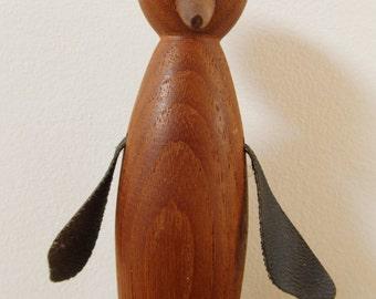 Danish Teak Penguin Figurine Mid-Century Scandinavian Bird 60's Kaj Bojesen style