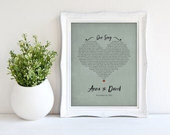 Song Lyrics Print, Wife Gift, Personalized Art, Groom Gift, Wedding Present, First Dance, First Anniversary Paper Gift, Custom colors 8 x 10