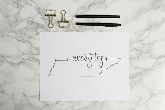 University of Tennessee Rocky Top Hand-lettered Calligraphy Print - Wall Art - Home Decor - Volunteers - Vols - Knoxville -Good Ol Rocky Top