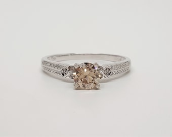Champagne Pink-Brown VS & White Diamond .96ctw 10kt White Gold Ring Size 8.5