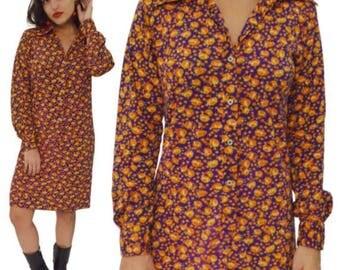 Vintage 70s The Mad Shirter Hippie Boho Floral Shirt Dress