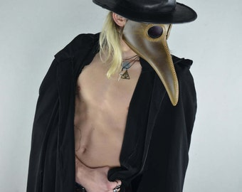 Plague Doctor Mask Leather Brown Steampunk Costume Bird