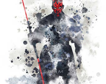 Darth Maul, Star wars ART PRINT illustration, Home Decor, Wall Art, Villain