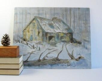 Country Barn - 20x16 Vintage Acrylic Landscape Painting - Winter Landscape - Signed Original Art - Blue Grey Wall Decor - Farmhouse Decor