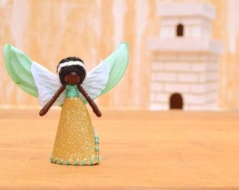 Miniature Fairy Doll - miniature fairies, waldorf fairy doll, waldorf fairies, flower fairy doll, flower fairies, black fairy doll
