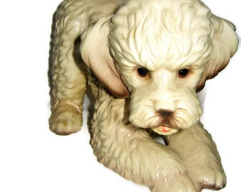 Large Bichon Poodle Dog Figurine Porcelain Vintage heavy Figure White Cream 8 by 5 inches Tan Japan Bichon Frise