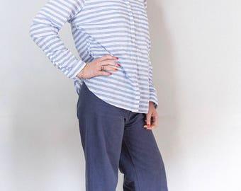 LL Bean Linen Boyfriend Shirt Light Blue Horizontal Stripes