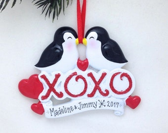 FREE SHIPPING Kissing Penguins XOXO Personalized Christmas Ornament / First Christmas / Couple / Anniversary / Valentines / Gift for Her