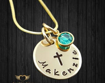 Cross Necklace • Confirmation Gift • Girl Baptism Gift • Easter Necklace • Communion Gift • Charm Necklace•Initial Necklace