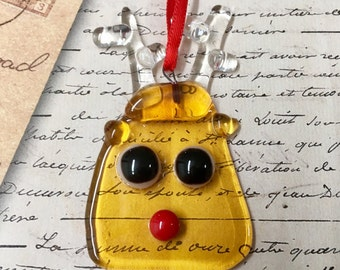Reindeer Glass Ornament - Fused Glass Christmas  Decorations - Rudolph the red nosed reindeer