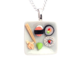 Sushi plate necklace dollhouse food Polymer clay miniature food jewelry