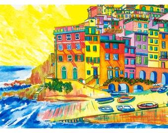 Italy Print: Riomaggiore, Cinque Terre, Italy