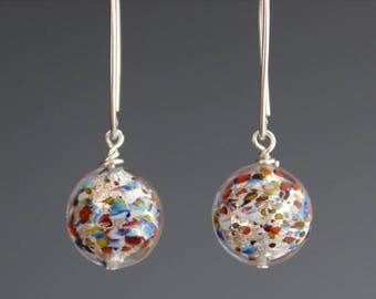 Venetian Murano Glass Earrings - Venetian Earrings - Multi color Jewelry - Sterling Earrings - jewelry gift - Gift for her - Paint