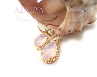 Casual Earrings Pink, Opal Earrings, Wedding Earrings Pink Opal, Azaliya Luxury Line. Short Earrings, Bridal Earring, Bridesmaids Earrings