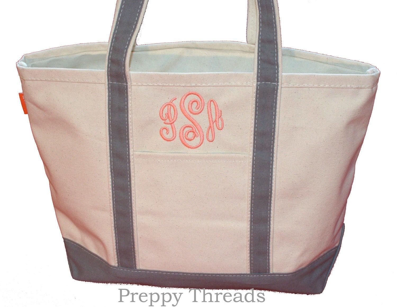 monogrammed tote bag canvas boat tote 10 colors 2 sizes. Black Bedroom Furniture Sets. Home Design Ideas