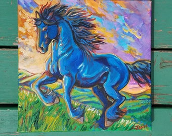 Horse painted on canvas friesian horse