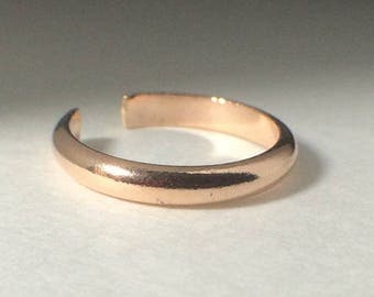 Rose Gold Toe Rings, Adjustable Toe Rings, Foot Jewelry, Wide Half Round Toe Ring, 2.6mm