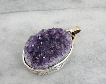 Amethyst Druzy Pendant, Rough Amethyst Crystal Pendant, Large Amethyst Pendant, Amethyst Statement Pendant 4Y1X8U-D