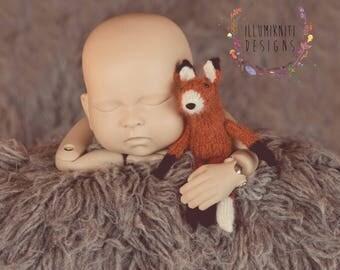 Little Fox Stuffy - Newborn Photography Prop Fox - Knit Fox Stuffy  - Newborn Fox Prop - Baby Fox Prop - Knit Animal Stuffed Toy