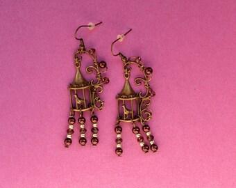 bird cage earrings, birdcage earrings, birdcage jewelry, birdcage jewellery, antique bird earrings, caged bird jewelry, chandelier earrings