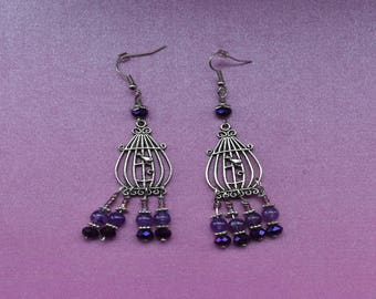 Silver birdcage earrings, birdcage chandelier earrings, purple chandelier earrings, bird jewellery, birdcage jewelry, purple gift ideas