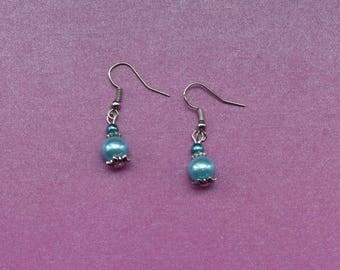 tiny blue earrings, tiny pearl earrings, small blue earrings, small pearl earrings, mini blue earrings, sky blue earrings, light blue drop