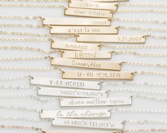 Bar Necklace, Personalized Name Plate Necklace, Gold, Silver, Rose Gold Name Bar Necklace: Layered and Long PERFECT BAR Necklace, LN140_35_H