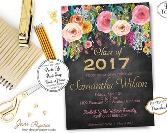 INSTANT DOWNLOAD - Graduation Party Invitation - Black Floral Invitation - High School Graduation - Class of 2017 - Open House Invitation