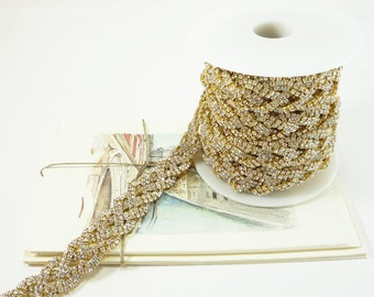 Gold Rhinestone Celtic Knot Trim, Clear Crystal Trim, Bridal Rhinestone Trim, Rhinestone Chain, Rhinestone Applique, 20mm ( 1 Feet Qty)