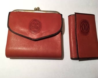 Vintage Buxton Genuine Leather Wallet & Key Holder In Original Buxton Case