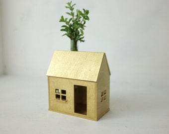 Golden bud vase house - miniature house with flower vase - golden wood structure - housewarming - table centerpiece - golden anniversary