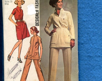 1970's Simplicity 8914 Safari Chic Star Trek Inspired Tunic or Dress Size 20