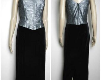 70s black VELVET + silver LUREX maxi dress boned corseted basque fitted dress spaceage u.k. 10 - 12 M