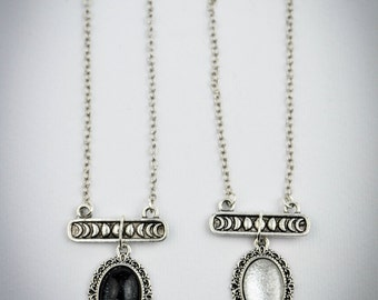 LUX ET OBSCURITAS - moon phases necklace, pic your choice - moon lovers - black & white - matching necklaces