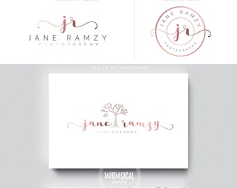 rose gold feminine tree logo initials mark businesscards  simple modern feminine branding- logo Identity artist makeup wedding photographer