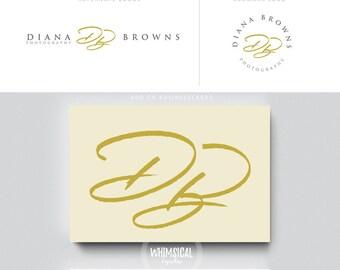 siganture marker logo 2 pen initials businesscards  script simple modern feminine branding- logo Identity artist makeup wedding photographer