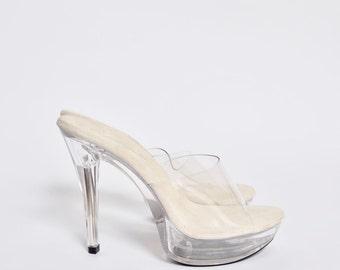 Vintage 90's Transparent Clear Sandal High Heel Shoes