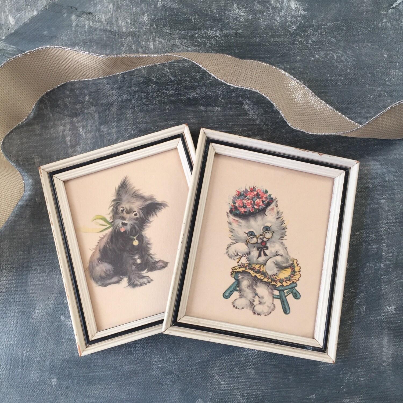 Dog And Cat Framed Prints Vintage Set Of 2 Nursery Prints