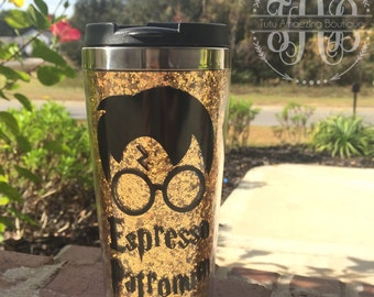 Espresso Patronum- 16 oz Travel Mug- Glitter Coffee Mug