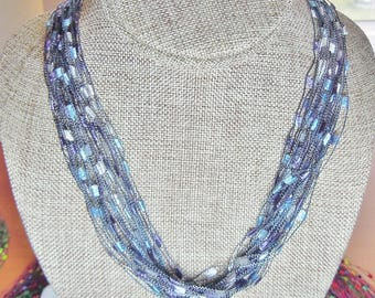 Gorgeous Trellis Scarf Necklace in Cornflower Blue and Soft Purple  (SKU 107)