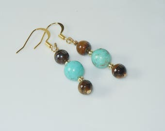 Turquoise, Tiger Eye and Gold Beaded Earrings