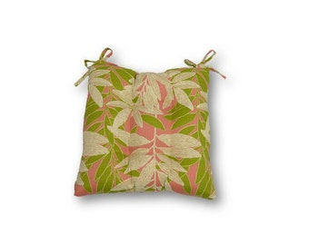 Coral, Green and Ivory Leaves  -- Tufted Seat Cushion w/ Ties for Kitchen Dining Chair ~ Select Size