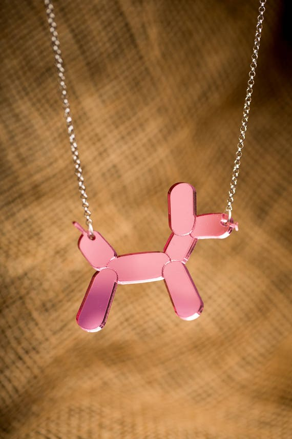 NEW Pink Balloon Dog Necklace or Brooch - Mirror Acrylic