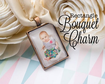 Custom Bouquet Charm - Bridal Bouquet Charm - Photo Bouquet Charm - Wedding Photo Gift - Antique Copper Bouquet Charm - 25 x 35 mm Rectangle