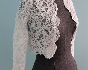 Long Sleeve French Lace Bridal Bolero Shrug Wedding Jacket Available in Ivory-White or Pure White