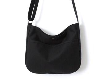 Canvas Hobo Bag Crossbody Bag Slouch Bag Purse Black SALE