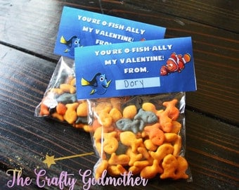 INSTANT DOWNLOAD Finding Dory Finding Nemo Printable Valentine's Day Bag Topper