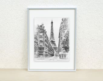 Eiffel tower painting. Paris painting. France. Gray painting. Black and white Paris painting. Watercolor painting.Minimalistic.Original.8x10