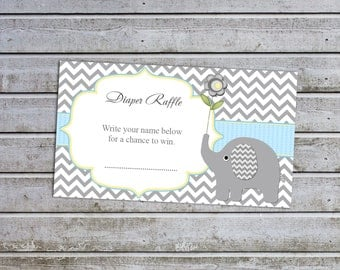 Elephant Baby Shower Boy Baby Shower Diaper Raffle Ticket Diaper Raffle Card Diapers Raffles Printable Digital Files (49d5)